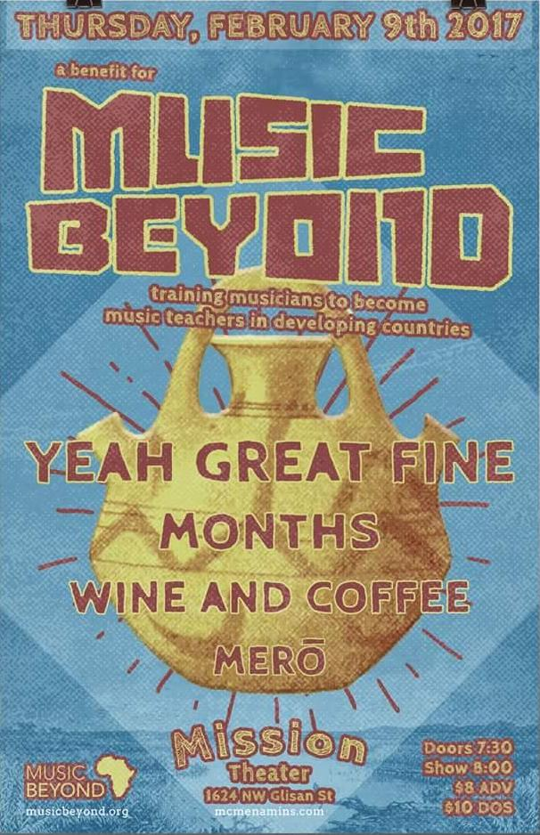 months plays a music beyond benefit with yeah great fine, wine & coffee, excuses